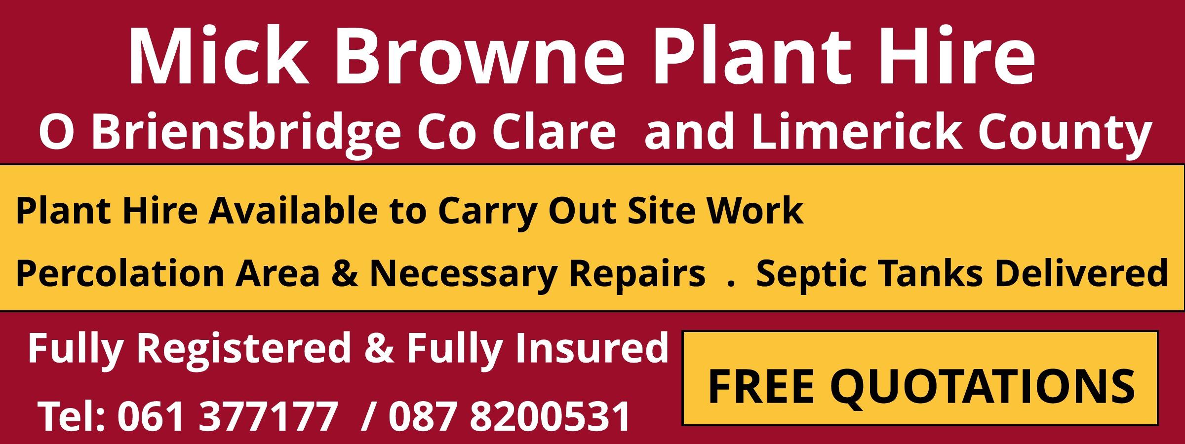 Michael Browne Plant Hire Clare Plant Hire In O Briens